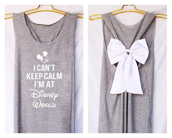 I keep calm je suis au monde de Disney Mickey réservoir Premium avec Bow : chemise d'entraînement - garder calme Shirt - débardeur - Bow - rasoir retour réservoir