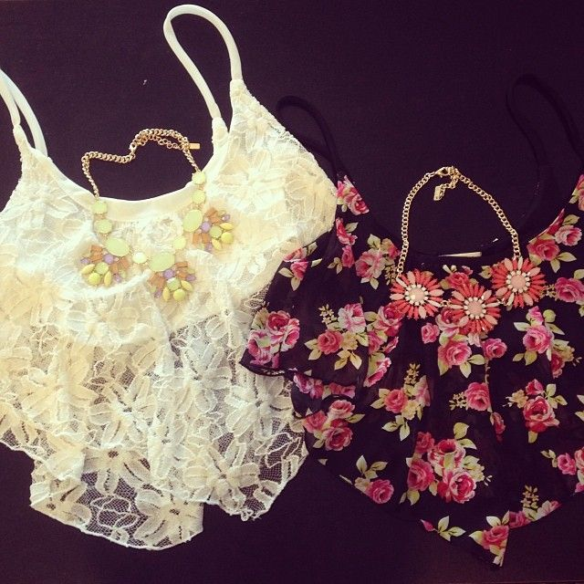 Floral and Lace Crop Tops