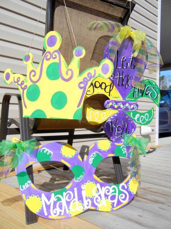 MARDI GRAS Fleur de Lis Wooden Door Hanger by SouthernByDesignCo