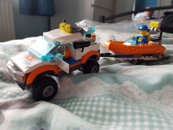 New 4x4 in the garage. Lego city Coast Guard and RIB