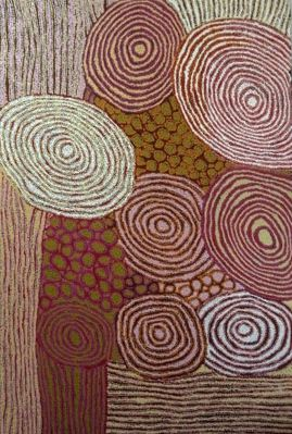 Katungka  This painting depicts designs associated with the travels of an old women. Walangkura was born at the site of Tjiturlnga, west of Walungurra C. 1946. In her early teens she along with her family moved to Haast Bluff and in 1994 she participated in a joint canvas project between Kinore and Haast bluff. She began painting for Papunya Tula Artists in 1996 and now resides with her husband Johnny Yunget Tjupurrulla in Kiwirrkura