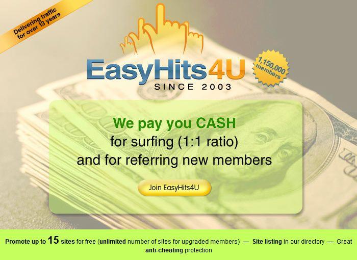 EasyHits4U.com - il traffico di Exchange, 1: 1 Rapporto di Cambio, Surf manuale, innovativo programma di rinvio. Traffico LIBERO!