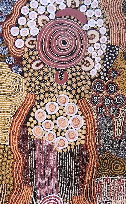 Anawari Mitchell, The seven Sisters, acrylic on canvas, 75 x 153cm.