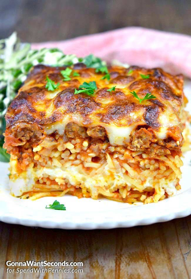 Million Dollar Spaghetti Casserole via @spendpennies