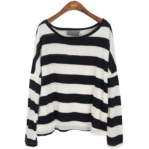Black White Stripes Batwing Long Sleeve Knitted T-shirt (41 AUD) ❤ liked on Polyvore featuring tops, shirts, sweaters, long sleeves, long sleeve cotton shirts, long sleeve tops, black and white stripe shirt, black and white striped shirt and long sleeve shirts