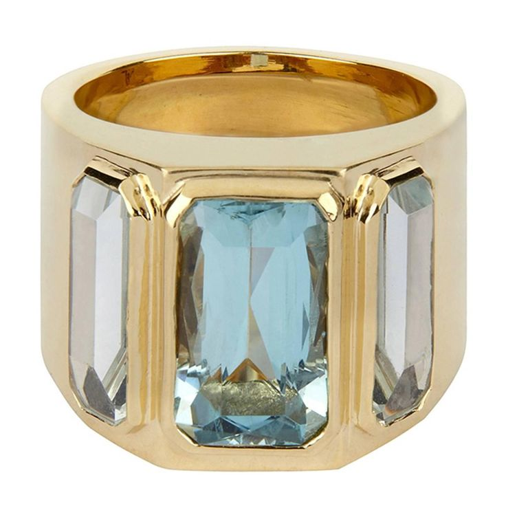 Aquamarine Gold Ring | From a unique collection of vintage cocktail rings at https://www.1stdibs.com/jewelry/rings/cocktail-rings/