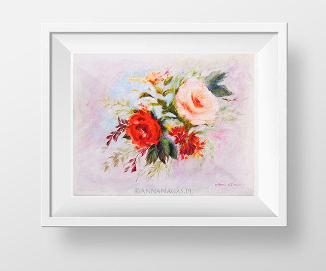 http://AnnaNagas.pl   Para róż - obraz akrylowy.    róże, róża, róże angielskie, obraz, akrylowy, ręcznie malowany, kwiat, kwiaty, natura, malarstwo, obraz do salonu, obraz na ścianę, wystrój wnętrz, dekoracje