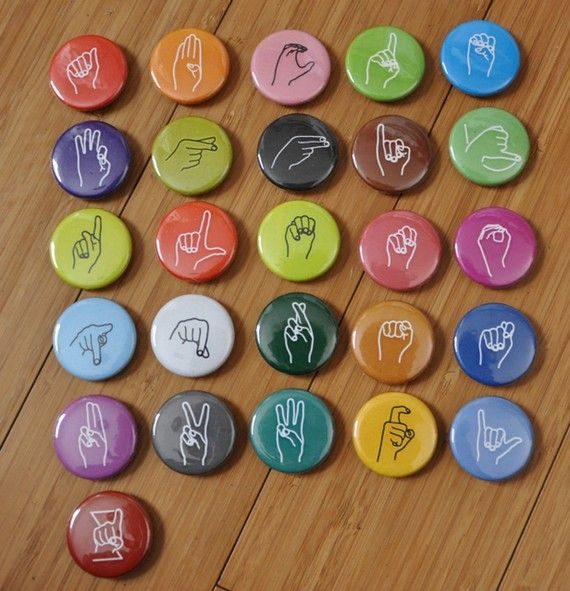 Super cute and idea for spelling words. A magnet set of the ASL alphabet!