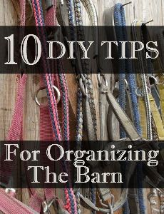 Savvy Horsewoman: 10 DIY Tips - Organizing the Barn- overhead drying rack for pads, blankets etc. , making a rolling saddle holder with milk crate from a luggage roller(I think)