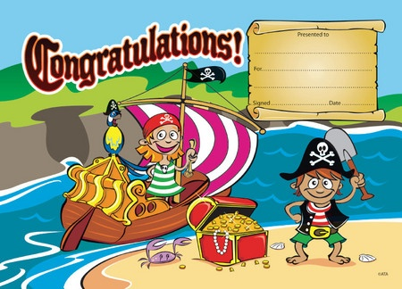 Pirate themed merit certificates to reward students for academic and citizenship performance.