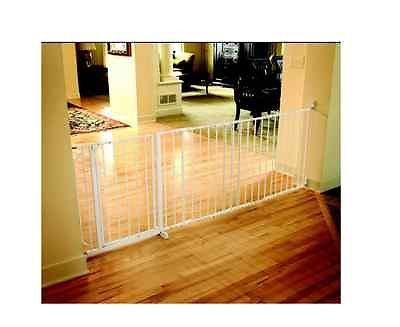 Safety Gate Wide Baby Walk Thru Door Pet Fence Dog Child Sturdy Steel White NEW