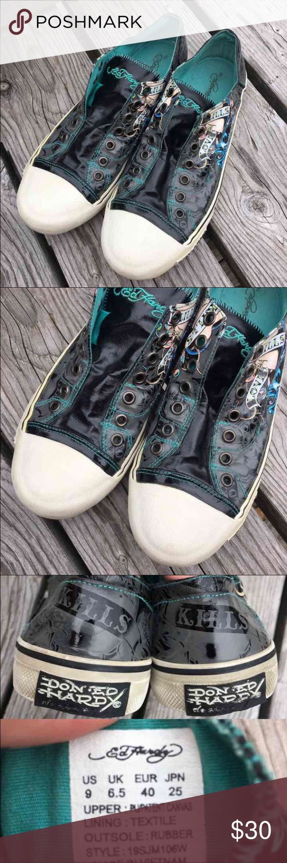 Don Ed Hardy 'Love Kills' Sneakers! EUC! Size EUR 40, US 9 - I feel that PM EUR sizes are off as I wear an 11/42 - so I believe these are a women's 9. Would also work as a men's 7. Please know I am giving the only information that I have. These are in beautiful condition! Don Ed Hardy Shoes Sneakers