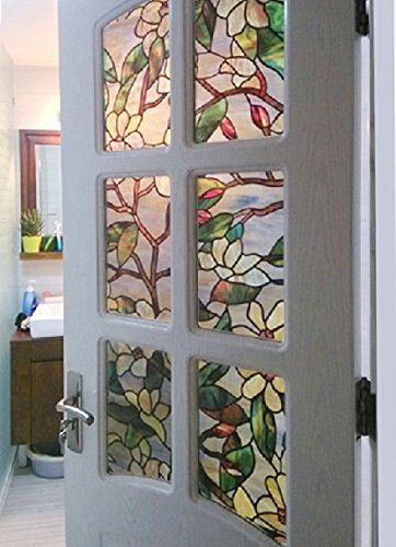 Premium No Glue Static Decorative Privacy Window Films Opaque Bathroom  Stained Window Film (17.5