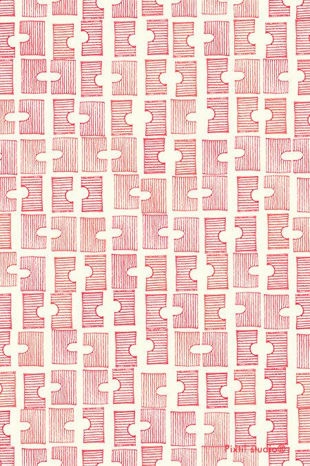 beautiful color and pattern. //Pixtil studio® pattern sticks bridge red design textile creative coding fashion