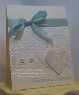 This is another card that I found on line.  All the materials are Stampin'Up.  this would make a beautiful wedding invitation as well as a card.