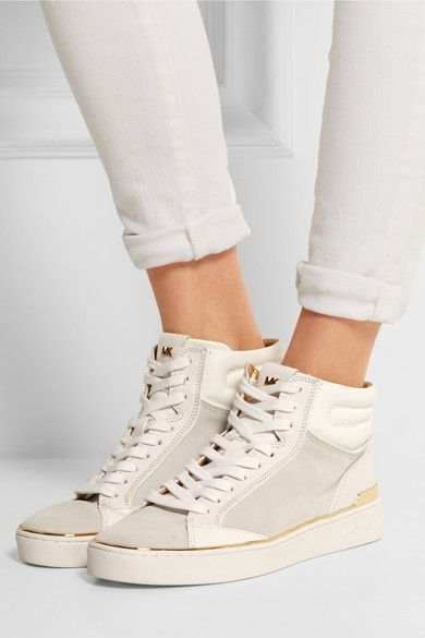 MICHAEL Michael Kors | Kyle leather and suede high-top sneakers | NET-A-PORTER.COM