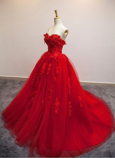 Red Floral Applique Ball Gown prom dresses 2017 new style fashion evening gowns for teens girls