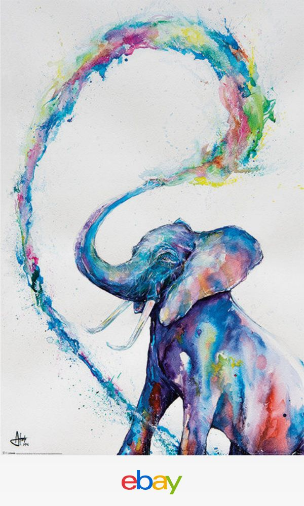 An elephant spouting out colorful bands of water!