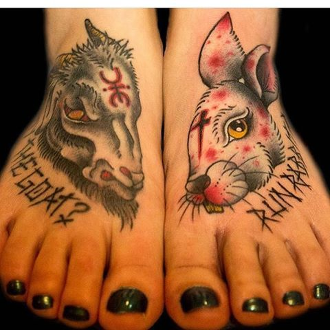 Rob zombie inspired feet,goat healed rabbit fresh done by @frankentooth Both together House of 1000 corpses themed foot to go with the lords of Salem one!
