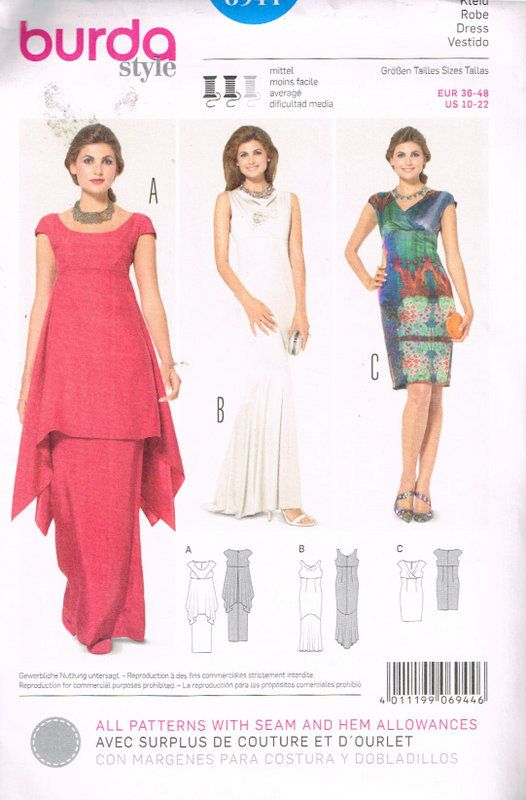 Burda Sewing Pattern 6944 Misses' Dresses Size 10  by OhSewWorthIt
