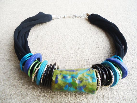 Handmade necklace, tube collection handmade with tube and ring clay.