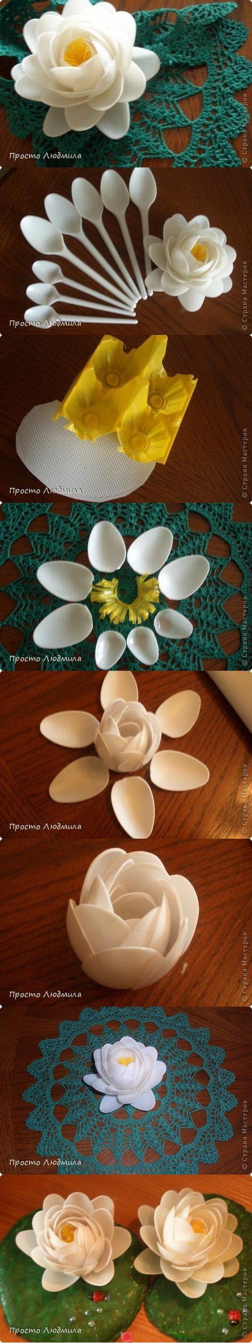 fiore con cucchiai di plastica