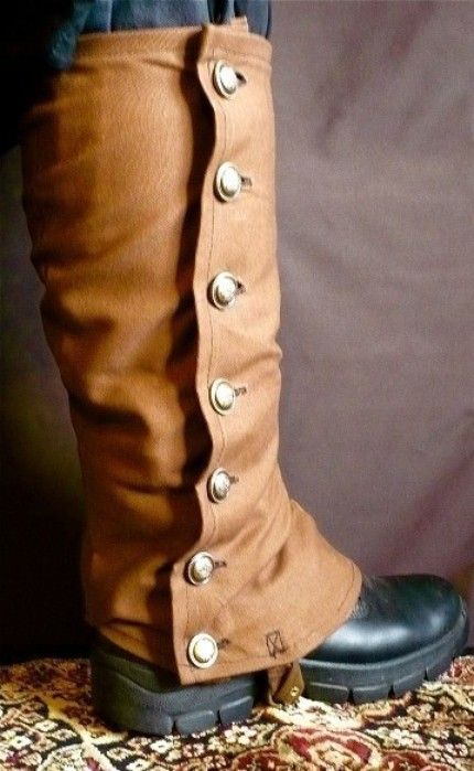 Spats—Short Coverings for the ankles and instep, usually made of felt and buttoned on the outside.