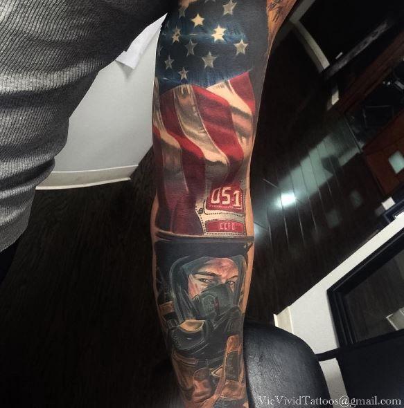 American Flag and Fireman Sleeve Tattoo