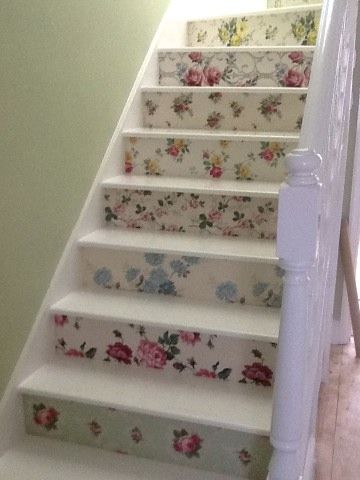 Floral vintage wallpaper stairs http://hannahstreasures.typepad.com/my-blog/2014/03/two-remarkable-customer-projects.html
