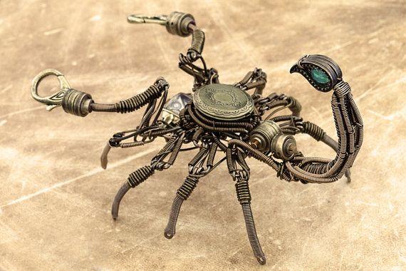 Steampunk Scorpion Draht Skulptur mit antiken von CatherinetteRings