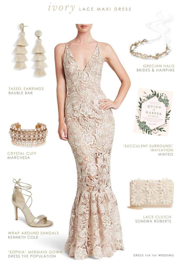 Ivory lace maxi dress for a bride - casual outdoor, beach, or destination wedding #weddingdress #beachwedding #destinationwedding