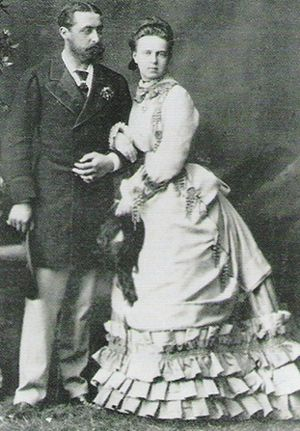 Grand Duchess Marie Alexandrovna as a new bride with her husband, Alfred. She was not considered to be very pretty, but the draw for Alfred was the huge dowry supplied by her father, the Tsar, to his only surviving daughter.