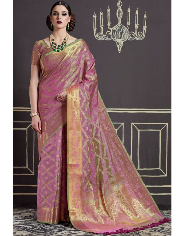 e98e6476a68231 Onion Pink Two Tone Art Silk Saree in 2019 | Silk Sarees | Art silk sarees, Silk  sarees, Saree