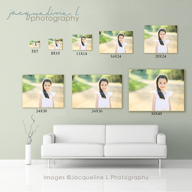 photography wall displays with sizes - Google Search