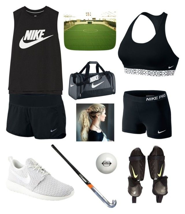 """""""Sponsored Nike Field Hockey training outfit"""" by potterheadpanda ❤ liked on Polyvore featuring NIKE"""
