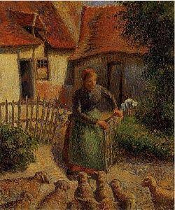 Camille Pissarro's 1886 work La bergère rentrant des moutons (Shepherdess bringing in sheep)