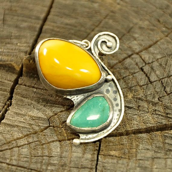 BUTTERFLY Baltic amber and turquoise pendant / by Ankanate on Etsy