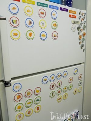 Brilliant toddler meal planning; use circle pictures and day-of-the-week magnets on fridge.
