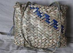 Matariki Gallery Maori Art, Giftware, Bone Jade and Wood Carvings from New Zealand. RTwo pattern, 4 corner kete with blue strip on side 32 cm x 25 cm Rita Baker