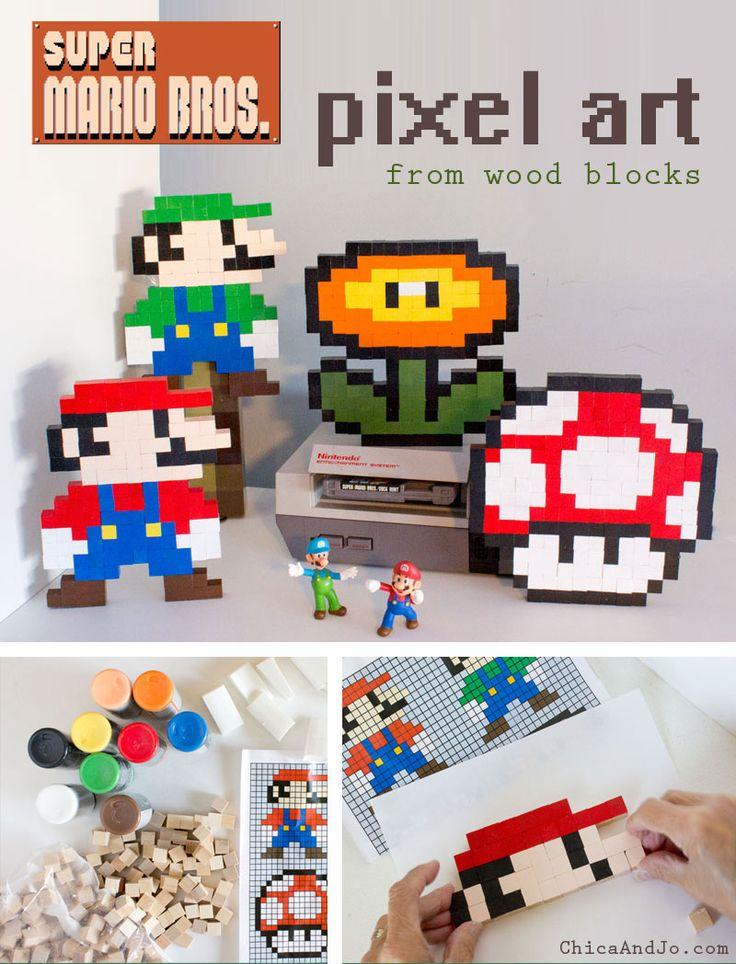 8-bit Super Mario Brothers wooden block pixel art pattern