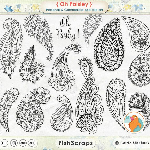 Boho ClipArt, Paisley Doodle & Black Line Art Digital Stamps, Decorative ClipArt for Graphic Designs | Instant Download, PNG Silhouette – My Fancy Letters