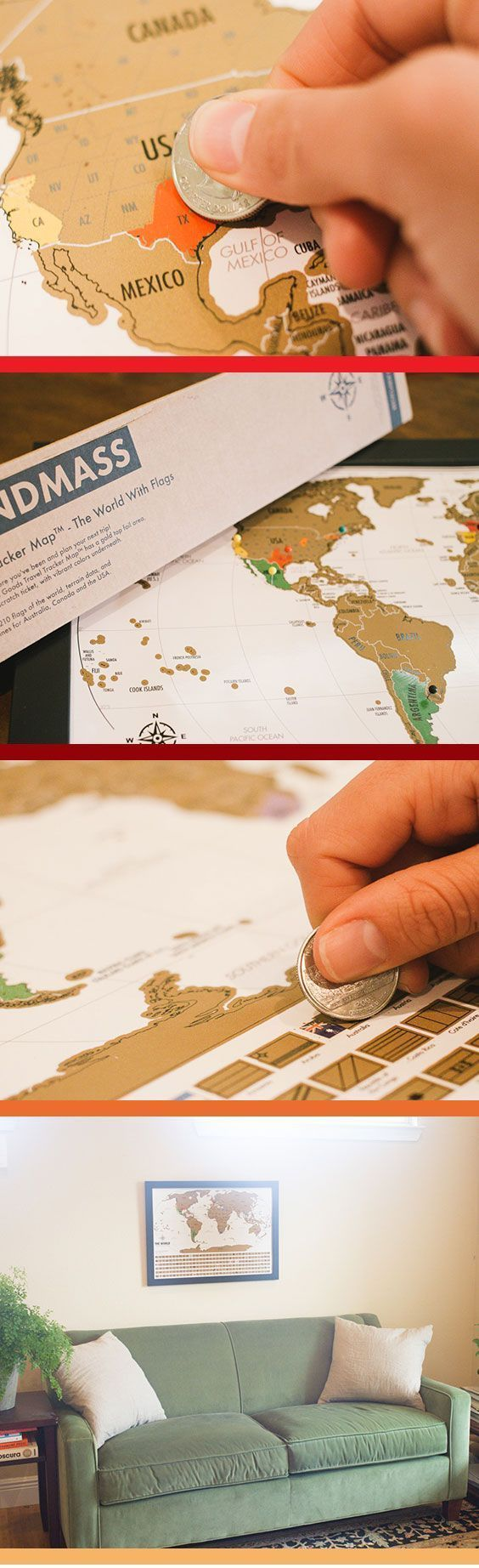 Free USA shipping Landmassu0027s World Travel Tracker