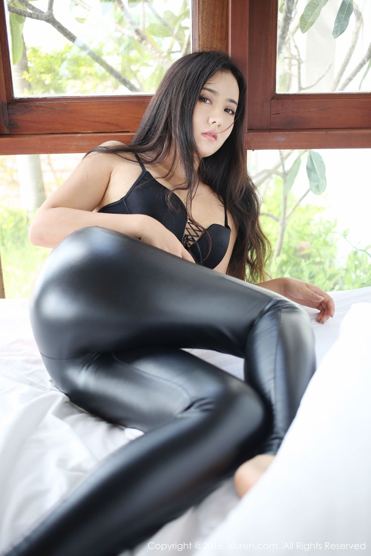Hot asian in leggings in slo mo