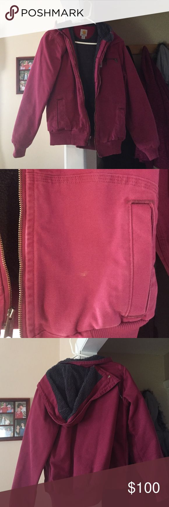 GREAT condition women's carhartt jacket Pink carhartt jacket; women's size small 4/6; only worn a couple times so in GREAT condition; small mark seen in pic #2 on pocket but could easily be cleaned off; soft furry inside and hood; willing to take reasonable offers; maybe worn twice Carhartt Jackets & Coats