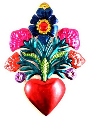 Tin painted milagro heart with flowers