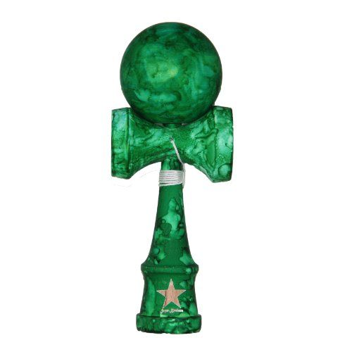 Black Friday Deal Full Marble Green Rubberized Super Kendama, Super Sticky, Japanese Wooden Toy, Free String, USA Seller from Super Kendama Cyber Monday