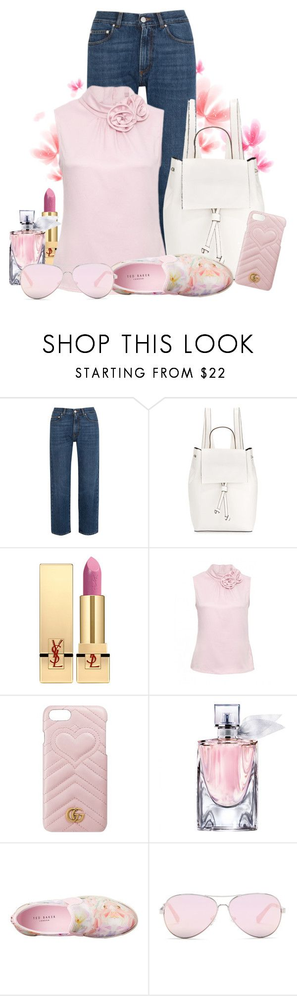 """""""Boyfriend jeans is right!"""" by ela79 ❤ liked on Polyvore featuring AlexaChung, French Connection, Yves Saint Laurent, Gucci, Lancôme, Ted Baker and Kenneth Cole Reaction"""