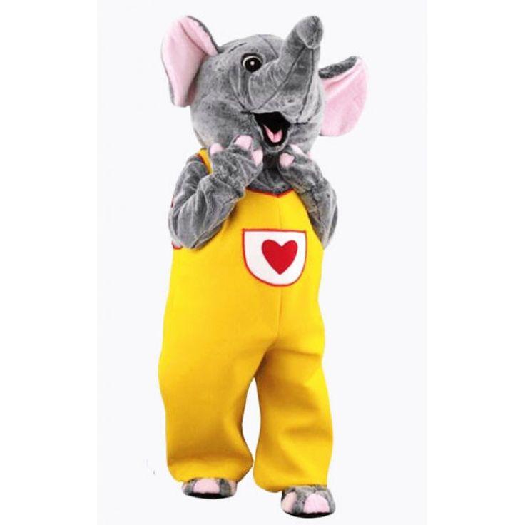 Female Cute Smilling Gray Elephant Mascot Costume