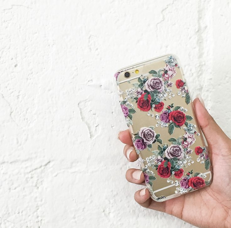 """Clear Plastic Case Cover for iPhone 6 (4.7"""") Watercolor Floral Pattern"""