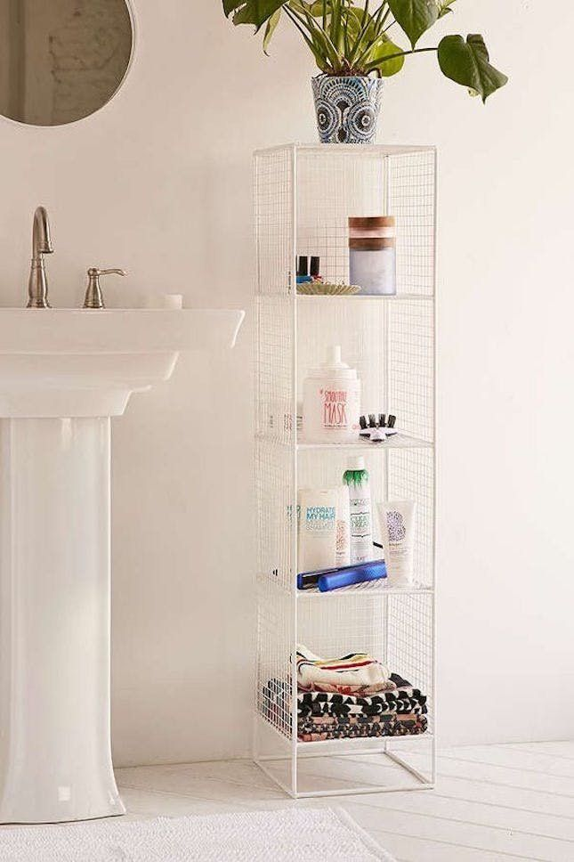 This metal shelving tower makes the most of your small bathroom situation.